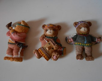 Teddy bear red indian fridge ornament magnets great collectable set of three little indian teddies