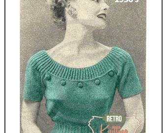 1950s Button Yoke Blouse Knitting Pattern - PDF Knitting Pattern - Pin Up - Rockabilly - Instant Download