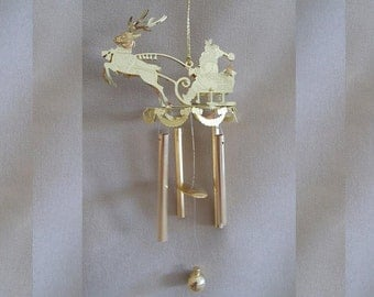 Vintage Engraved Brass Santa, Sleigh & Reindeer Wind Chime, Tree Ornament, Holiday Decor, Family Gift, Traditional, Holly, Garland, Cute