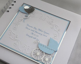 "Personalised, Baby Boy Christening/Naming Day Guest Book, 8"" x 8"" Pram And Balloons ,Boxed"
