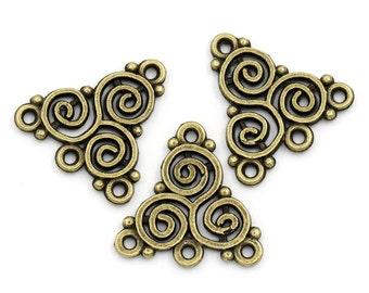 6 Antiqued Bronze Celtic Triskelion Knot Connectors