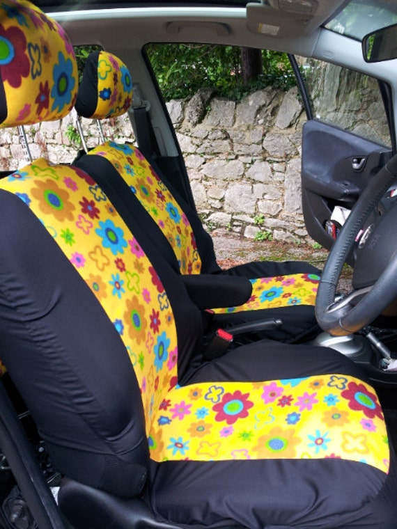Pair Car Seat Covers In Funky Flowers Fabric Very California