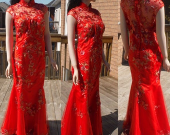Red Cheongsam Dress, Chinese wedding dress, red qipao dress, traditional chinese dress
