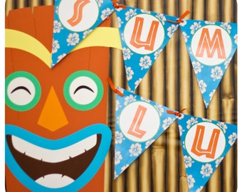 Luau Birthday Party Banner Printable; Hawaiian Party Decor