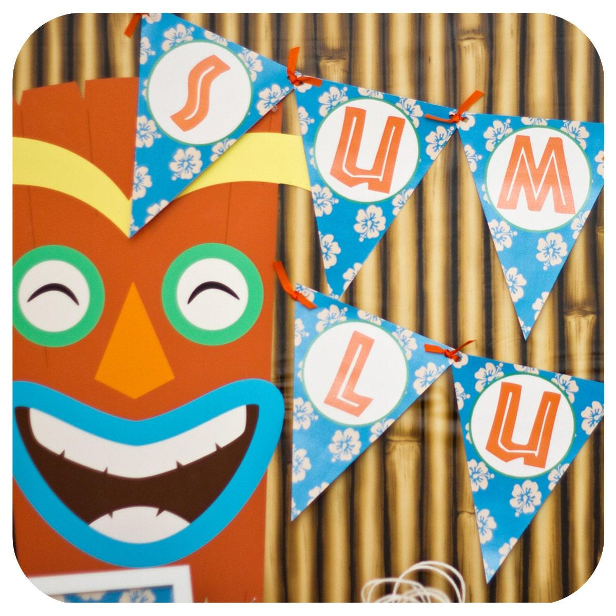 Luau Birthday Party Banner Hawaiian Party Decor Printed