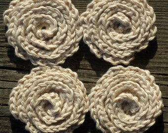 Four beige Flower Face Scrubbies, Facial Wash Cloth, cotton Baby Wash Cloth, crochet Flower Scrubbies, eco friendly Make up Remover Pads
