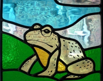 Stained glass frog panel -SALE!-