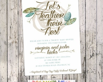 Let's Feather Their Nest Baby Shower Invitation