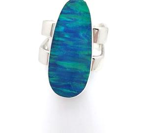 True Blue Opal Oval Ring
