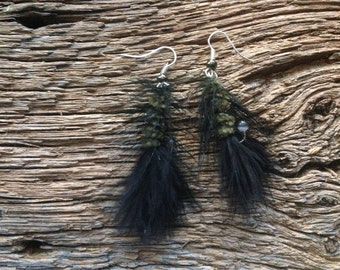 Fly fishing fly earrings: wooly bugger earrings black and green fishing jewelry perfect for Halloween!