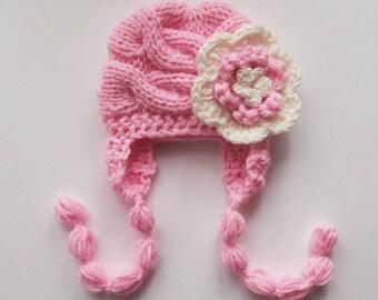 Knit Baby Hat, Newborn Baby Girl Hat, Baby Girls Hat Photo Prop , Newborn Hat Baby Hat Earflap  , Knit Baby Hat , Crochet Flower Hat