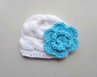 Newborn Baby Girl  Hat , Baby Hat Photo Prop , Knit Baby Hat , Crochet Flower Hat ,Photo Prop