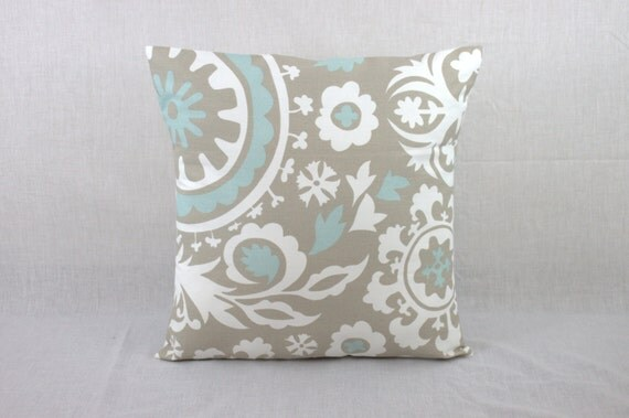 Decorative Pillows for Couch Powder Blue Suzani Pillow Covers