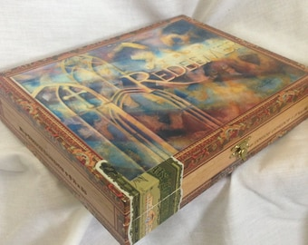 My Redeemer Lives Memory Box with painting detail inside