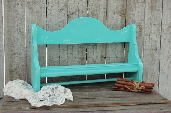 Spice rack towel bar towel holder shabby chic turquoise for Shabby chic towel stand