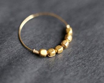 Thin Gold Band. Handmade Minimalist Gold Ring. Gold Thumb Ring. Gold Hematite Ring. Thin Gold Ring. Thumb Ring. Gold Bead Ring