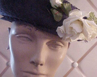 Vintage Navy Blue Linen Hat, with White Rose, Veil covering hat.