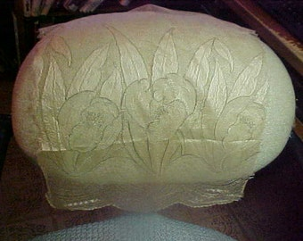 Antique Ecru lace with large tulips outlilned in black thead
