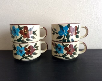 Set of 4 Stacking Ceramic Mugs/Bowls