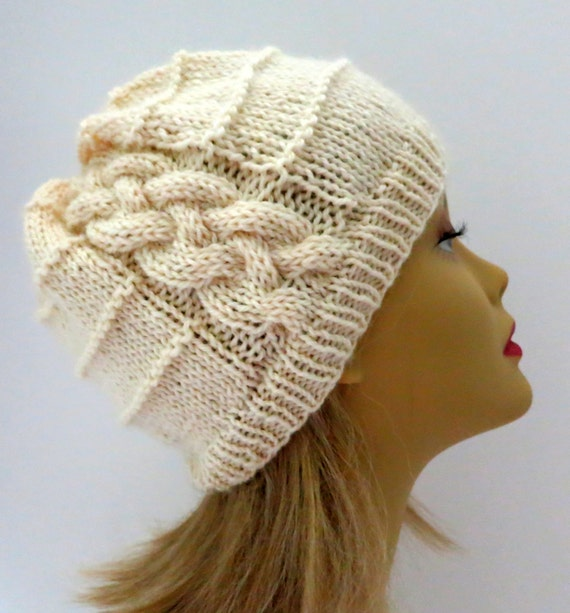 Knitting Pattern Cable Hat Easy : Easy Cable Hat PDF 179 Hat Knitting Pattern Beanie Souch