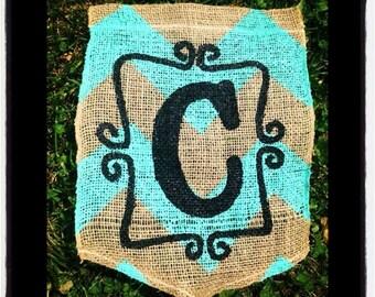 Personalized Chevron Burlap Garden Flag  / Yard Flag