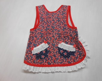 Patriotic Girls Slip on Apron fits 2 to 4 yrs