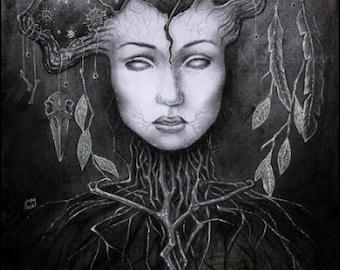 Persephone in the Underworld, A4 PRINT, Ancient winter myth, underworld goddess, Greek mythology art, chthonic deity, surreal dark artwork