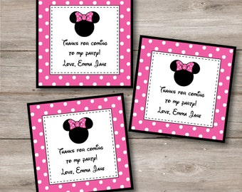 Minnie Mouse Favor Tags with Editable Text, Minnie Tags with Changeable Text, Minnie Mouse Printable Birthday Party, Minnie Mouse Party DIY