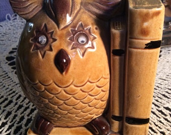 Vintage Tan Roly Eyed Owl Bookend