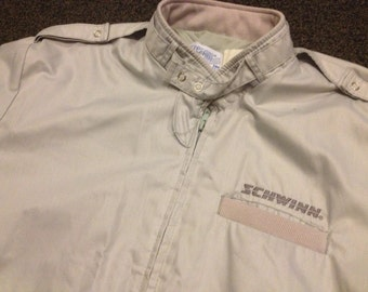 Vintage Schwinn Bike Bicycle Casual Zip Up Riding Jacket Sz:M/L