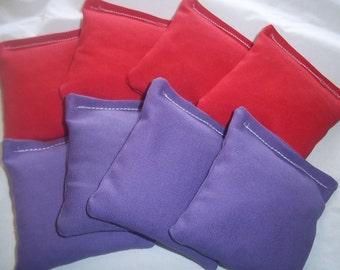 8 ACA Regulation Cornhole Bags - 4 Purple and 4 Red