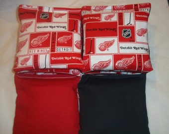 8 ACA Regulation Cornhole Bags - 8 Detroit Redwings on Red and Black
