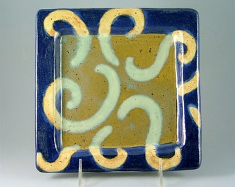 Hand-Built Square Lunch Plate - Blue, Turquoise-Green with Gold Swirls