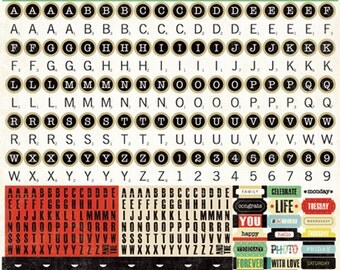 1 Sheet of Echo Park Paper FOR THE RECORD 12x12 Scrapbook Alpha Alphabet Stickers
