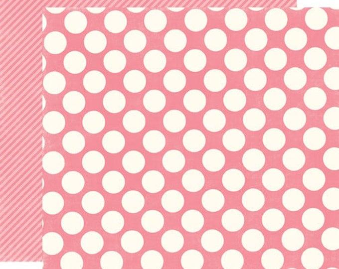 1 Sheet of Echo Park Paper DOTS & STRIPES Candy Shoppe 12x12 Scrapbook Paper - Bubblegum Large Dots