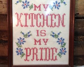 Vintage Kitchen Cross Stitch, My Kitchen Is My Pride, Framed.