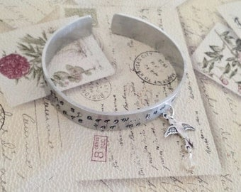 Hand Made Hand Stamped Bible Verse Bracelet Adjustable With Flying Bird, His Eye Is On The Sparrow....