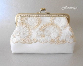 Wedding Clutch,Bridal Ivory Gold Lace and  satinPurse, Wedding Bridesmaid Clutch with Kisslock