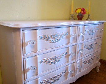 Vintage French Provincial Double Dresser in Powder Pink