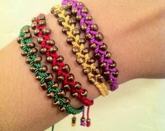 Hippie love. Braided bracelet. Friendship bracelet. Beaded bracelet. Boho chic .