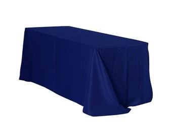 90 x 156 Inch Rectangular Polyester Tablecloth Navy Blue   Wedding Tablecloths