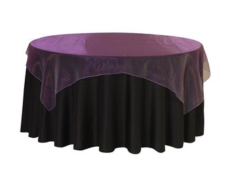 72 inch Square Organza Table Overlay Purple | Wedding Table Overlays