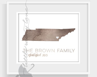 Tennessee art - watercolor tennessee map - 76 Colors to choose from and faux gold foil