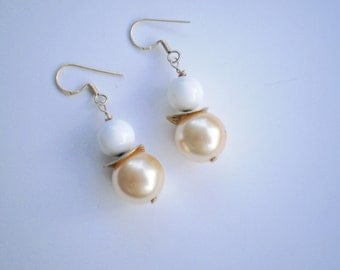 White coral sea shell dangle earrings gold over sterling silver