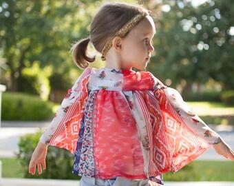 Girl Blouse, summer blouse, hippy chic, children's clothing, toddler boho, girl floral blouse, toddler clothing, size 3T, 4T, 5, 6,7,8