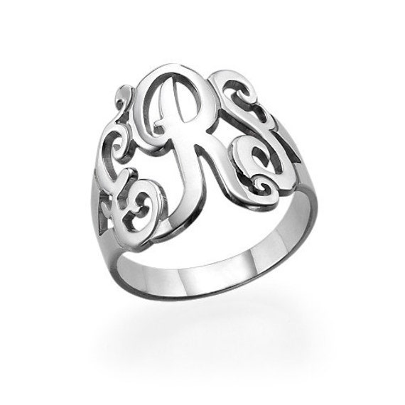 sterling silver plated monogram custome ring by