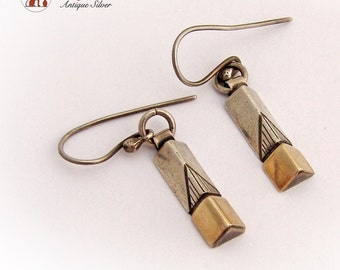 Modern Leaf Triangular Earrings Sterling Silver 925 Applied Gold Vintage 1980s