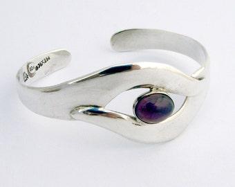 Amethyst Cuff Bracelet Sterling Silver