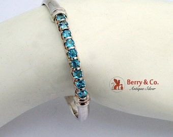 Topaz Bangle Bracelet Sterling Silver