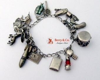 Vintage Sterling Silver Charm Bracelet 17 Charms